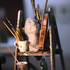 A still life of objects from the studio